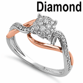 Solid 14K White & Rose Gold Cluster 0.25 ct. Diamond Ring