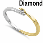 Solid 14K White & Yellow Gold Unity  0.02 ct. Diamond Ring