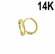 Solid 14K Yellow Gold 1mm x 9mm Rope Hoop Earrings