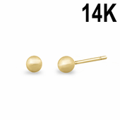 Solid 14K Yellow Gold 3mm Ball Earrings
