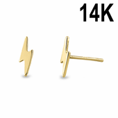 Solid 14K Yellow Gold Bolt Earrings