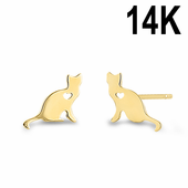 Solid 14K Yellow Gold Cat with Heart Earrings