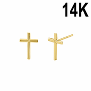 Solid 14K Yellow Gold Cross Stud Earrings