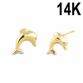 Solid 14K Yellow Gold Dolphion Earrings
