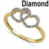 Solid 14K Yellow Gold Double Heart 0.10 ct. Diamond Ring