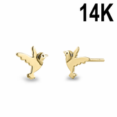 Solid 14K Yellow Gold Dove Earrings