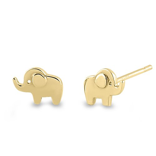 Solid 14k yellow gold elephant earrings freerunsca Images