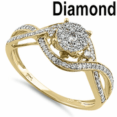 Solid 14K Yellow Gold Extravagant Cluster 0.40 ct. Diamond Ring