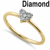 Solid 14K Yellow Gold Heart Cluster 0.15 ct. Diamond Ring