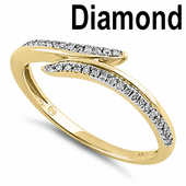 Solid 14K Yellow Gold Open Ended  0.15 ct. Diamond Ring