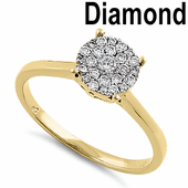 Solid 14K Yellow Gold Round Cluster 0.25 ct. Diamond Ring