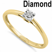Solid 14K Yellow Gold Simple 0.05 ct. Diamond Ring
