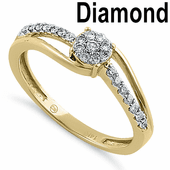 Solid 14K Yellow Gold Simple Cluster 0.20 ct. Diamond Ring