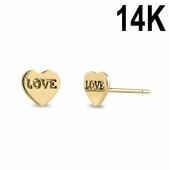 Solid 14K Yellow Gold Solid Heart with Love Inscription Earrings