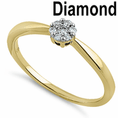 Solid 14K Yellow Gold Solitaire Flower 0.10 ct. Diamond Ring