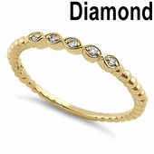 Solid 14K Yellow Gold Stackable 0.05 ct. Diamond Beaded Band