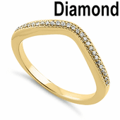 Solid 14K Yellow Gold V-Shaped 0.10 ct. Diamond Ring