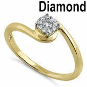 Solid 14K Yellow Gold Wave Flower 0.15 ct. Diamond Ring