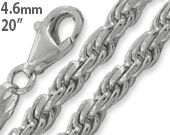 """Sterling Silver 20"""" Rope Chain Necklace 4.6MM"""