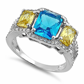 Sterling Silver 3 Stone Blue Topaz & Yellow CZ Ring
