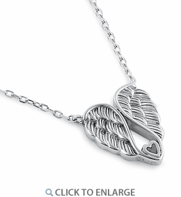 Sterling Silver Angel Wings with Heart Necklace
