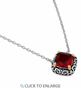 Sterling Silver Celtic Garnet Cushion CZ Necklace