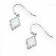 Sterling Silver Dangling Diamond Shaped White Lab Opal Earrings