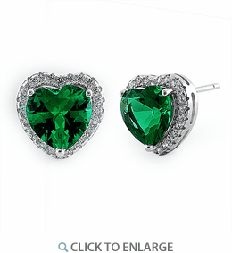 Sterling Silver Emerald Big Heart CZ Earrings
