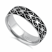 Sterling Silver Heart Swirls Band Ring