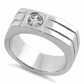 Sterling Silver Men's Offset Round Cut Clear CZ Ring
