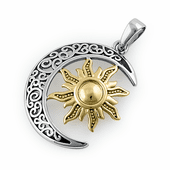 Sterling Silver Two-tone Bohemian  Sun and Moon Pendant