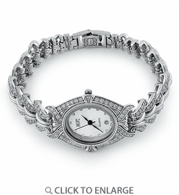 Sterling Silver Oval Clear CZ Watch