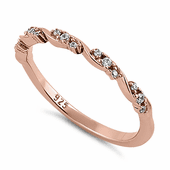 Sterling Silver Rose Gold Plated Dainty Clear CZ Ring