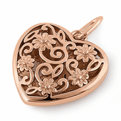 Sterling Silver Rose Gold Plated Flowered Heart Pendant