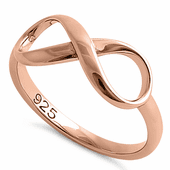 Sterling Silver Rose Gold Plated Infinity Ring