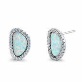 Sterling Silver White Lab Opal & Clear CZ Offset Stud Earrings