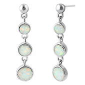 Sterling Silver White Lab Opal Round Dangle Earrings