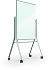 Visionary Curve Mobile Magnetic Glassboard - Silver Frame - White Glass