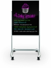 Visionary Move Mobile Magnetic Glass Whiteboard 4'H x 3'W - Gloss Black