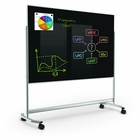 Visionary Move Mobile Magnetic Glass Whiteboard 4'H x 6'W Gloss Black