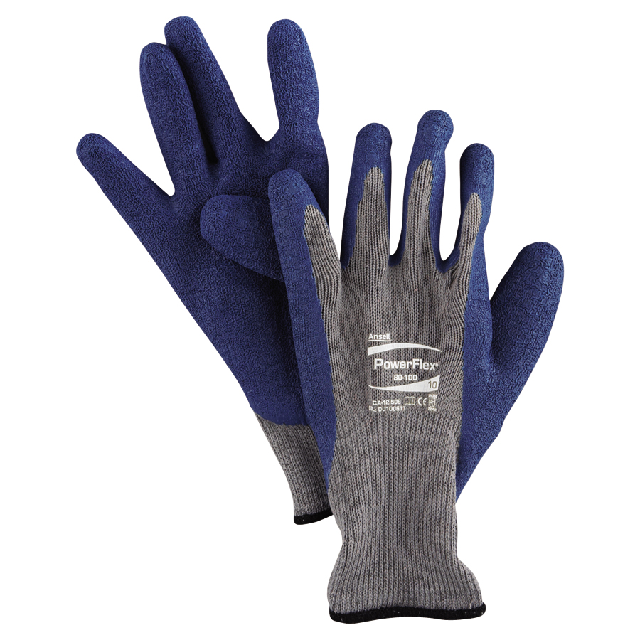 Ansell Powerflex 174 80 100 Rubber Coated Knit Gloves Case