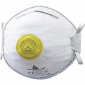DeltaPlus M1200V N95/FFP2 Disposable Respirator Dust Mask with Exhalation Valve, Dual Self-Adjusting Straps, Metal Nose Clip, and Nose Pad (N95, FFP2) (Case of 100 Masks)
