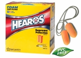 Hearos Supreme Protection Series 7025 UF Foam Ear Plugs - Large Size - CORDED (NRR 33) (Box of 100 Pairs)