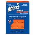 Mack's Hot Orange Snore Mufflers Silicone Putty Ear Plugs (NRR 22) (Pack of 6 Pairs)
