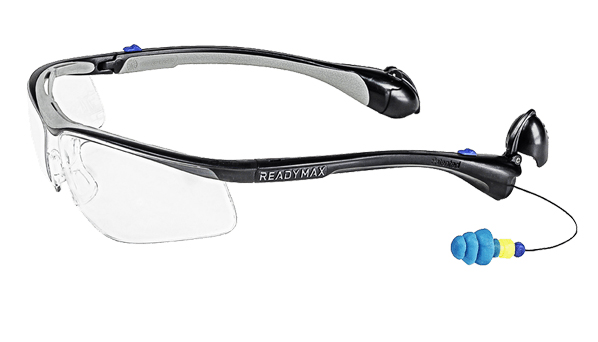 ReadyMax Classic Black Frame Safety Glasses with Ear Plugs ...