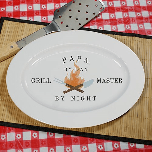 Personalized BBQ Flames Grill Master Platter