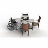 ADA COMPLIANT HEIGHT ADJUSTABLE DINING TABLE FOR USE W/WHEELCHAIRS.