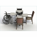 ADJUSTABLE HEIGHT DINING TABLE FOR USE W/DINING CHAIRS & WHEELCHAIRS: