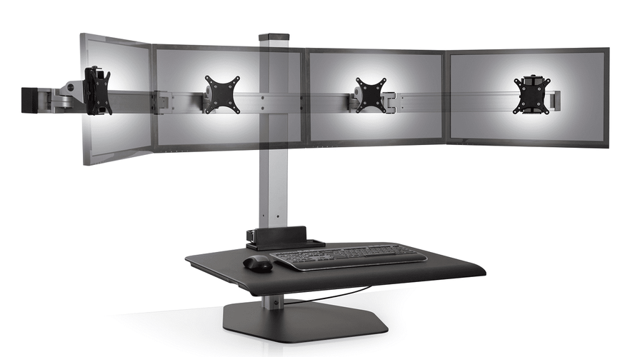 "INNOVATIVE WINSTON QUAD MONITOR STAND ERGONOMIC WORKSTATION ACCOMMODATES MOST WIDESCREEN MONITORS UP TO 24"". #WNST-4-FS"
