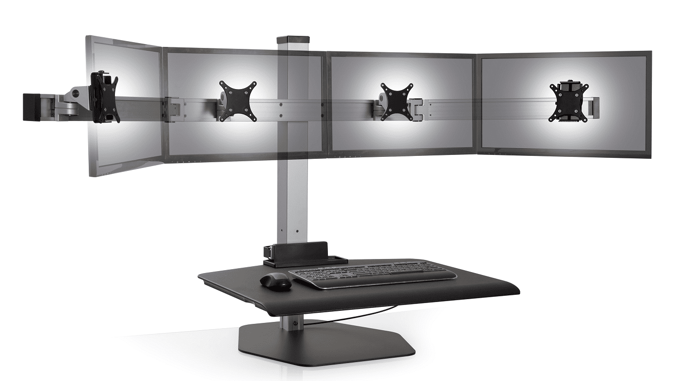 "QUAD MONITOR STAND IS AN ERGONOMIC WORKSTATION THAT ACCOMMODATES MOST WIDESCREEN MONITORS UP TO 24"". VIDEO:"